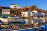 Port quays of moored boats secured winter — Stock Photo