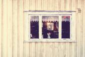 Old window with a view of the old apartment. — Stock Photo