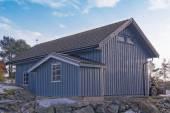 Large blue barn wood — Stock Photo