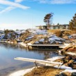 Winter empty bay on frozen fjord — Stock Photo #64795799