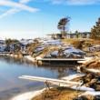 Winter empty bay on frozen fjord — Stock Photo #64795799