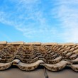 Roof with gray tiles on the tabs on background of blue sky — Stock Photo #64795895