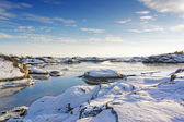 Bay fjord covered in ice in the winter — Stock Photo