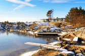 Winter empty bay on frozen fjord — Stock Photo