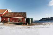Old red fisherman house, Norway — Stock Photo