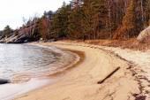 Sandy beach on the fjord, Norway — Foto de Stock