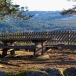 Norwegian bench with mountain view — Stock Photo #68731807