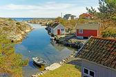 Houses of fishermen on the sea bay — Stock Photo