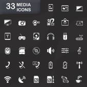 33 media icons — Stock Vector