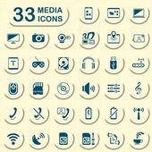 33 jeans media icons — Stok Vektör