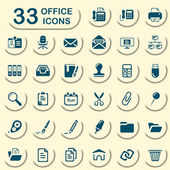33 jeans office icons — Stock Vector