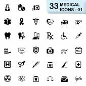 33 black medical icons 01 — Stock Vector