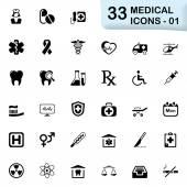 33 svart medicinsk ikoner 01 — Stockvektor