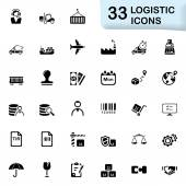 33 black logistic icons — Stock Vector