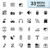 33 black media icons — Stock Vector