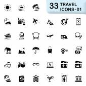 33 black travel icons 01 — Stock Vector
