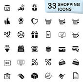 33 black shopping icons — Stock Vector