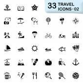 33 black travel icons 02 — Stock Vector
