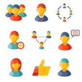 Zestawu informacji służbowych płaski komunikat że media web ikony na białym tle sylwetki ilustracji wektorowych płaski — Wektor stockowy