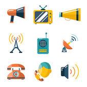 Flat communication business information media web icons set — Stock Vector