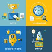 Generation of ideas start up time management success business concept icons set — Vector de stock