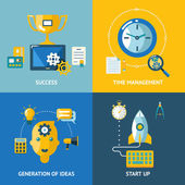 Generation of ideas start up time management success business concept icons set — Stockvector