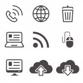 Internet network communication mobile devices icons set — 图库矢量图片