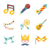 Modern trendy flat Isolated icons Gift, Party, Birthday set — Stock Vector
