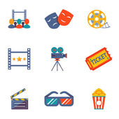 Cinema and Movie flat icon set — Stock Vector