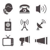 Communication business information media web icons set — Stock Vector