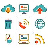 Internet network communication mobile devices line icons — Stock Vector