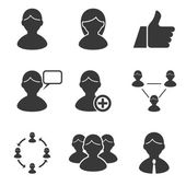 Users people human resources management business icons set — Stock Vector