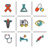 Health and medical icons set — Stock Vector