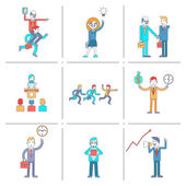 Businessman character line icons set — Stok Vektör