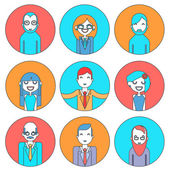 Businessman Male and Female Avatars Director Businesswoman Designer Programmer Geek Hipster character concept line icons set — Vector de stock