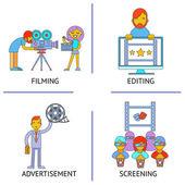 Filming editind advertisemen screening cinema movie flat concept set — Stock Vector