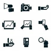 Business shopping and travel hands isolated icons set — Stock Vector
