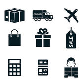 Shopping and shipping isolated icons set — Stock Vector
