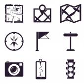 Map and Location Icons set — Stockvector