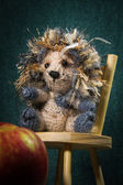 Artistic compositions with knitted animals. Crew cut — Stock Photo