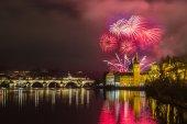 Fireworks in Prague — Stock Photo