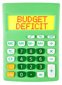Calculator with BUDGET DEFICIT on display isolated — Stock Photo