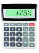Calculator with 75 on display on white — Stock Photo