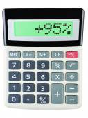 Calculator with 95 on display on white — Stock Photo