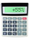 Calculator with 55 on display on white — Stock Photo