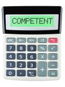 Calculator with COMPETENT on display isolated on white — Stock Photo