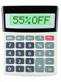 Calculator with 55OFF on display on white — Stockfoto