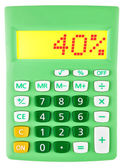 Calculator with 40 on display on white — Stock Photo