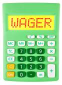 Calculator with WAGER on display on white — Stock Photo