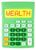 Calculator with WEALTH on display isolated — Stock Photo